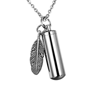Pet Paw Heart Charm & Cylinder Memorial Urn Necklace Stainless Steel Cremation Jewelry