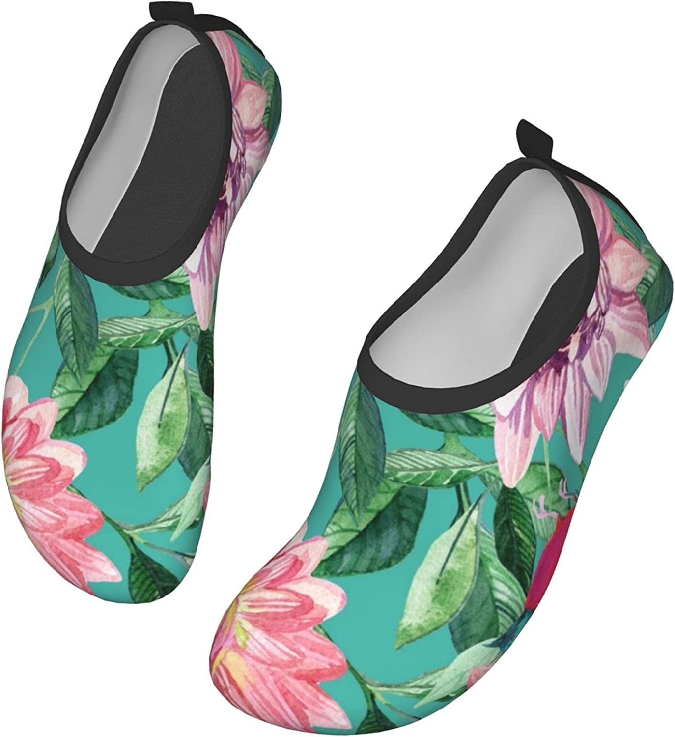 Watercolor Asters and Birds Womens and Mens Water Shoes Barefoot Quick-Dry Aqua Socks Slip-On for Outdoor Beach Swim Yoga