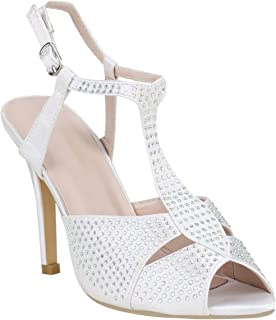 Stiefelparadies Damen Riemchensandaletten mit Pfennigabsatz Strass T-Strap Hochzeit Abiball Flandell