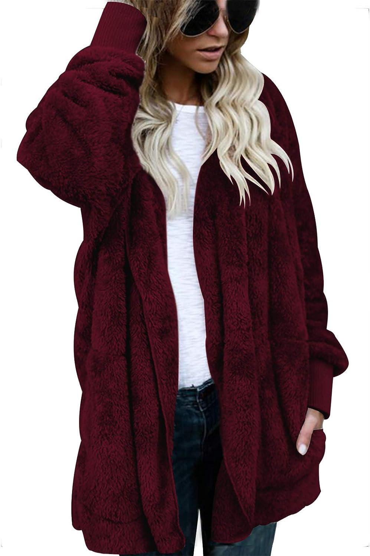 Women's Fuzzy Fleece Oversized Open Front Hooded Draped Faux Fur Cardigan Coat Outwear with Pockets