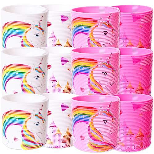 TE-Trend 12 Stück Einhorn Regenbogenspirale Treppenläufer Spirale Spielzeug Springspirale Kinder Geburtstag Mitgebsel Mehrfarbig