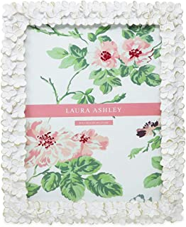 Laura Ashley 8x10 White & Gold Flower Textured Hand-Crafted Resin Picture Frame w/Easel & Hook for Tabletop & Wall Display, Decorative Floral Design Home Décor, Photo Gallery, Art (8x10, White/Gold)
