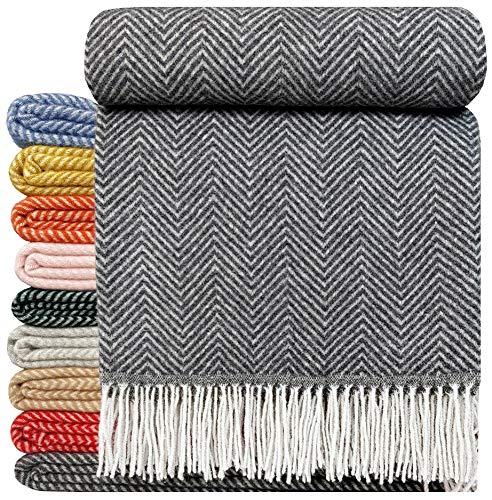 STTS International Wohndecke Wolldecke Decke sehr weiches Plaid Kuscheldecke 140 x 200 cm Wolle Milano/Verona (grau-weiß)
