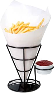 Home-X - French Fry Cone & Dipping Cup Holder, Classic Black Metal Diner Stand Holds French Fries and the Condiment of Your Choice (Paper Cones and Cups Not Included)
