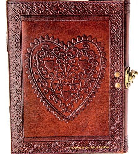 Urban libro de piel Bullet Journal Libro de amor para hombres y mujeres, libro de bocetos álbum de dibujo, cuaderno de notas, bonito corazón grabado diario, papel sin forro