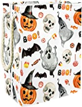 Laundry Bag Watercolor Pumpkin in Hat Spooky Ghost Large Storage Bin Storage Basket Clothes Laundry Hamper Toy Storage Bin