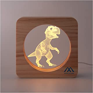 3D Night Light Tyrannosaurus Rex Dinosaur 3D Optical Illusion Night Light Creative Wooden Frame USB Night Light Warm White Light Home Hall Kids' Room Nursery Décor Night Lamp Kids Girls Adult Gift