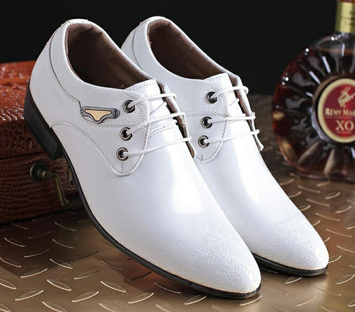 XWZG Men'S Business Casual shoes Fashion Printing Decoration Patent Leather Lace Suit shoes White-Collar Office shoes Wedding Party shoes