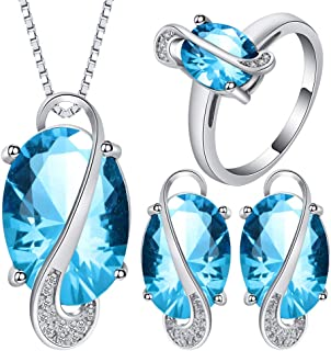 VPbao Charming Crystal Pendant Chain Necklace Stud Earrings Rings Jewellery Set Blue