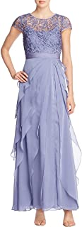 Women's Petite Chiffon Flutter Gown with Lace Bodice