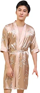 neveraway Men's Relaxed Fit Floral Printed Mid-Long Charmeuse Sleep Robe