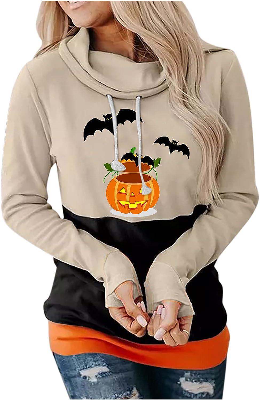 Halloween Hoodies For Women Pullover, Womens Pumpkin Face Graphic Hoodies Pullover Casual Long Sleeve Hooded Sweatshirt