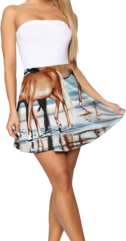 RHRFOL Horses On Beach Women's Basic Versatile Stretchy Flared Casual Mini Skater Skirt