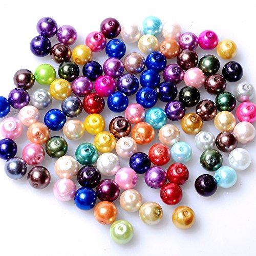 rubyca Tiny Checa cuentas redondas de perlas de cristal de lustre de raso para joyería Making