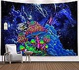 Zodight Wandteppich Psychedelic, Wandbehang Wandtuch Abstrakte Kunst Trippy Wandteppich Blau Pilz Tapestry Wall Hanging, Galaxis Tapisserie für Schlafzimmer Wohnzimmer Wohnheim