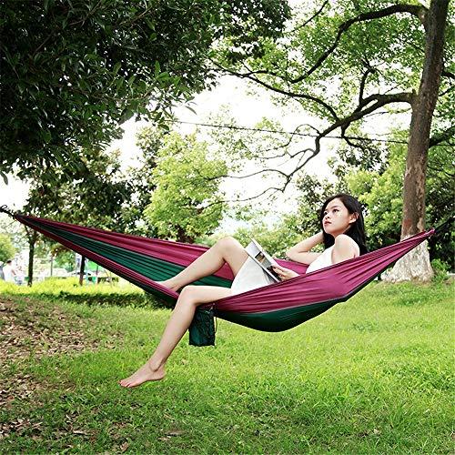 BU-SOH Hamaca Hamaca for Acampar al Aire Libre Hamaca de Tela paracaídas Hamaca de Nylon Individual Ultraligera y Transpirable for Exteriores para el Aire Libre Montañismo Viajes con Mochila