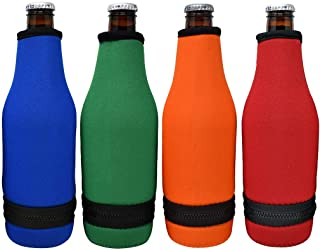 TahoeBay 4 Beer Bottle Sleeves - Easy-On Bottom Zipper - Extra Thick Neoprene Blank Drink Cooler (Multicolor, 4)