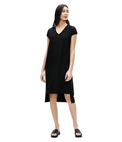 Eileen Fisher V-Neck High-Low Dress (Black) Women