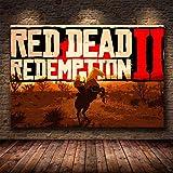 shuimanjinshan Red Dead Redemption 2 Juego Lienzo póster Pared Arte impresión Pintura Papel Tapiz Decorativo Cuadro de Pared para Sala de Estar (Py-249) 50x70cm No Frame