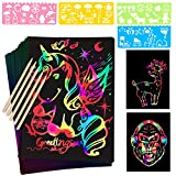 Mocoosy 60Pcs Scratch Art Paper Set - Rainbow Magic Scratch Paper Art Crafts Kit For Kids Black Scratch off Notes, with 5 Wooden Stylus 4 Drawing Stencils for Birthday Party Game Activities Gift