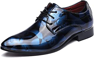JOYTO Chaussure Homme Cuir, Lacets Derby Mariage Cuir Vernis Dressing Oxford Business Marron Rouge Bleu Gris 37-50