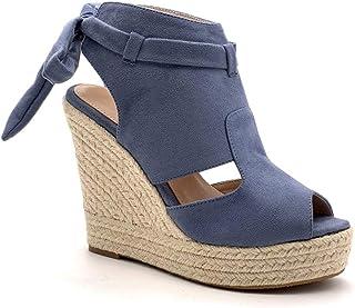 2a8b23c015970 Angkorly - Chaussure Mode Sandale Mule Plateforme Peep-Toe Ouverte arrière  Femme Ruban Corde tréssé