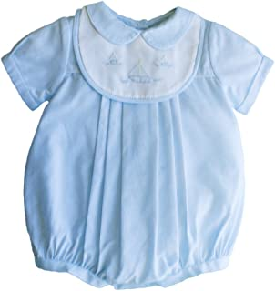 Baby Boys' Romper with Embroidered Sailboat Bib, Blue