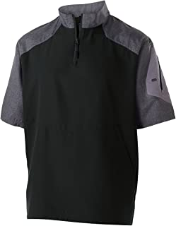 Unisex Ultra-Lightweight Aero-TecÖ Raider Short-Sleeve Warm-Up Pullover-Carbon PRT/Blck