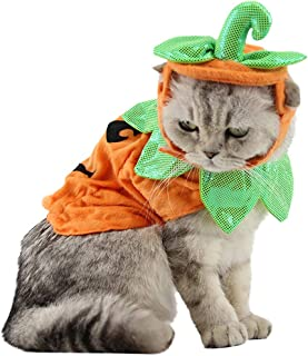 Wiz BBQT Adjustable Pet Halloween Outfit Pumpkin Costume with Hat for Cats Small Dogs