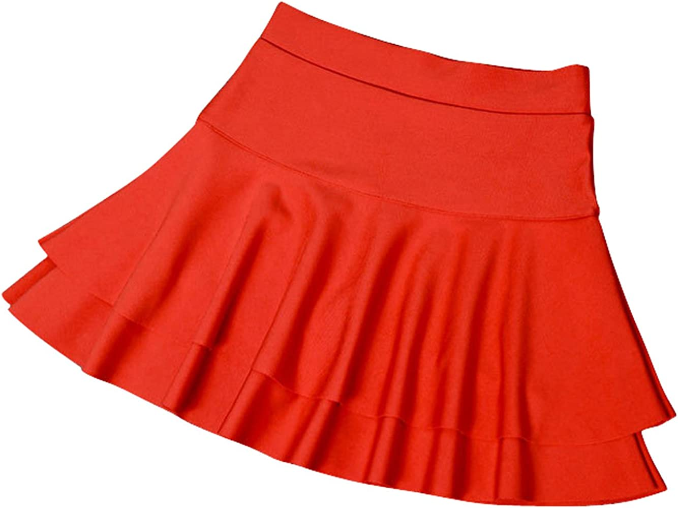 chouyatou Womens Stretched Versatile Flare Tiered Skater Skirts with Shorts