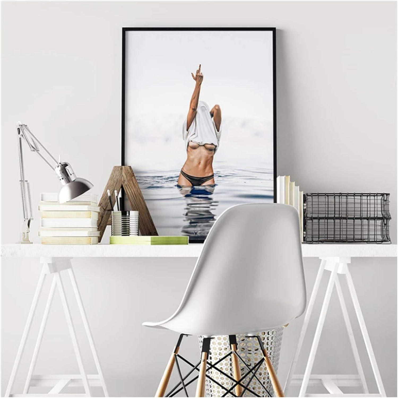 arte de pared con dedo medio sexy im/ágenes de mujer Pintura en lienzo p/óster blanco y negro moderno decoraci/ón moderna del hogar estiramiento y marco