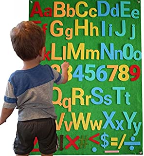 Felt Flannel Board Alphabet Letters Numbers Symbols Deluxe Set Giant 3.5 Feet 150+ Pieces Upper Lower Case w/Math Symbols Wall Hanging Interactive Play Kit No Magnets Quiet Book (Deluxe Set)