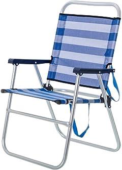 Silla de Playa Plegable Azul de Aluminio de 57x50x88 cm - LOLAhome