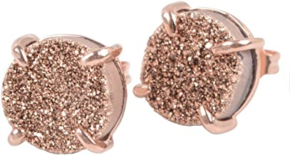 ZENGORI 1 Pair 10mm Brilliant Round Rose Gold Plated Claw Titanium Natural Druzy Stud Earrings