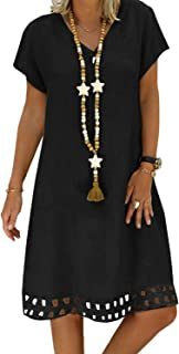 Ecrocoo Womens Summer Dresses Short Sleeve V Neck A-Line Casual Dress