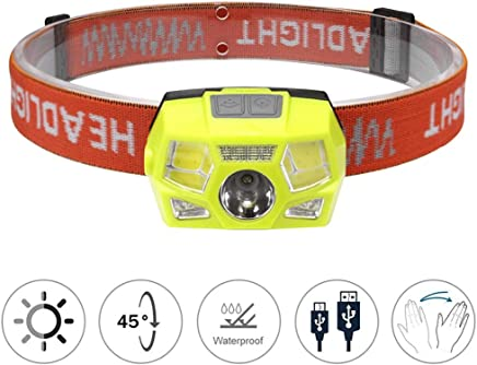 DaQingYuntur LED Sensor Headlights, 5 Lighting Modes, Glare USB Rechargeable Waterproof Outdoor Headlights - Camping Bike Riding Hiking Running Outdoor Lights