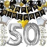 KUNGYO 50 Buon Compleanno Festa Decorazioni Kit – Nero Striscione di Happy Birthday, 100CM Grande Pallone 50 in Argento, Stelle Palloncini , Lattice Ballon, Turbinii Appesi,Rifornimenti Perfetti