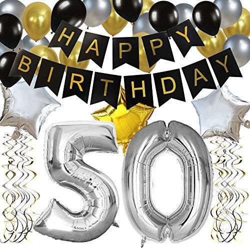 KUNGYO Classy Zum 50. Geburtstag Party Dekorationen Kit-Rose Gold Happy Birthday Banner-Riesen Zahl 60 und Sterne Helium Folienballons, Bänder, Papier Pom Blumen