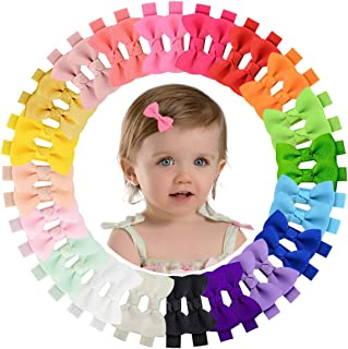 2 Inch Baby Hair Bows 40Pcs Baby Hair Clips for Baby Girls Toddlers inFants Fine Hair Grosgrain Boutique Solid Color Ribbo...
