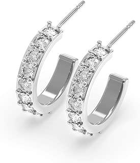 Balluccitoosi C Hoop Earrings With Post Back - Silver Stud C Earrings Posts - Half Hoop Earrings For Women - Dainty Hoop Earrings Small