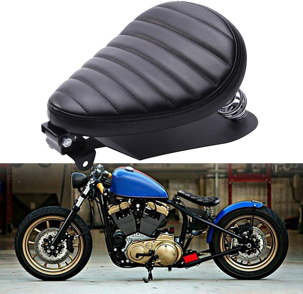 Black Leather Motorcycle Driver Seat For Sportster Forty-Eight 48 XL883 1200 Chopper Custom Black Latticed Motorcycle Solo Seat Spring Base