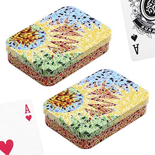 PracticDomus Set de 2 Barajas de Cartas de Póker en Estuche Metálico, Diseño de Giordano di Ponzano. Colección Gaudi