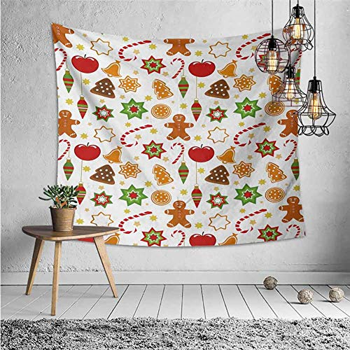 jecycleus Gingerbread Man Wall Blankets for Bedroom Festive Christmas Icons Graphic Pattern Star Figures Cookies Apples Bells Tapestry for Rome Decor W55 x L55 Inch Multicolor