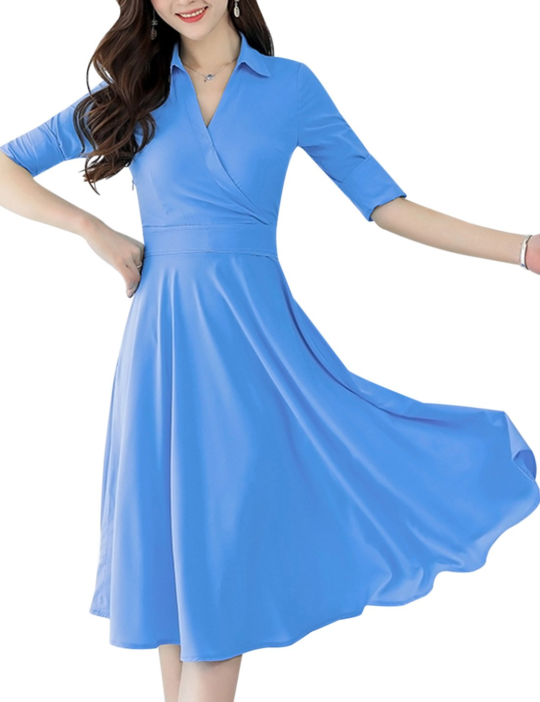 Available at Amazon: Tanming Women's V-Neck Fit and Flare Long Midi Chiffon Dress