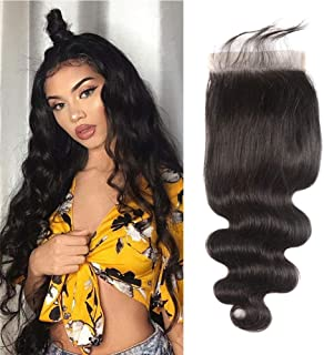 5X5 Lace Closure Human Hair Peruvian Hair With Closure Swiss Lace 5 5 Closure Pre Plucked Bleached Konts Unprocessed Human Hair Sew In Hair Extensions Body Wave Closure No Shedding Black 12 Inch