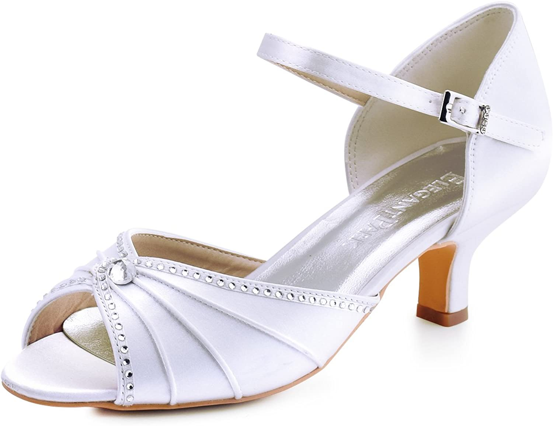 ElegantPark HP1623 Women Satin Peep Toe Mid Heel Sandals Rhinestones Ankle Strap Wedding Bridal shoes