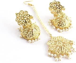 Bollywood Jadau Jhumka Traditional Ethnic Punjabi Muslim Earrings Tikka Set Jewelry