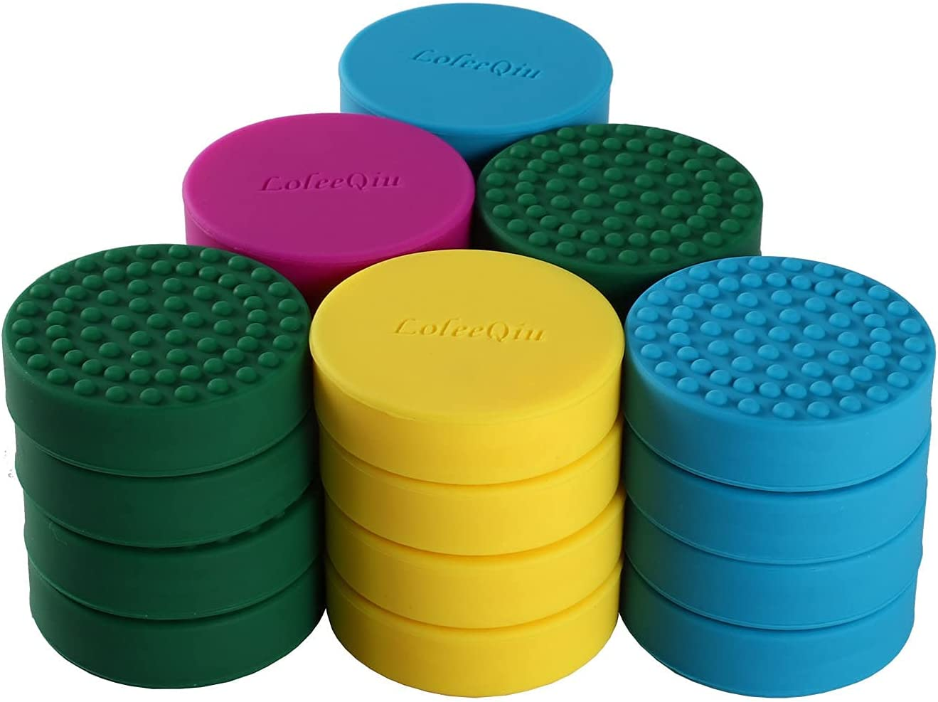 LoleeQiu 24 Pack Invisible Pot Feet, Solid Silicone Pot Feet Risers with Enhanced Non-Slip Surface Grip for Indoor & Outdoor Planters, Lifters for Heavy Garden Pots,Colorful.