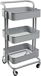 HollyHOME 3-Tier Metal Utility Service Cart Rolling Storage Shelves with Handles, Gray Storage Utility Cart