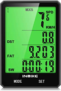 Bike Computer, Bicycle Speedometer IPX6 Waterproof Bike Odometer Speedometer with Large Backlight LCD Display, Bicycle A/B, Wake up Automatically, Calorie Counter